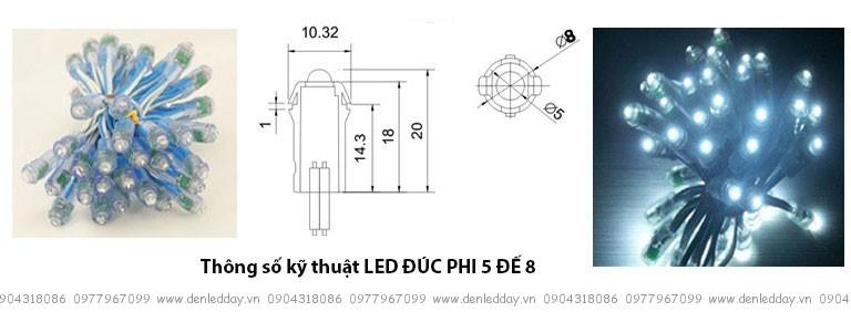 LED ĐÚC PHI 5 ĐẾ 8
