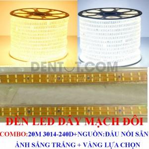 Đèn led dây 220V 20 Mét, Led 3014 mạch đôi, tích hợp sẵn, cắm nguồn là sáng, cuộn 20m