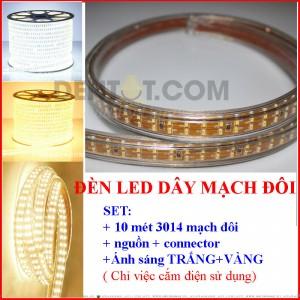 Đèn led dây 220V 10 Mét, Led 3014 mạch đôi, tích hợp sẵn, cắm nguồn là sáng, cuộn 10m