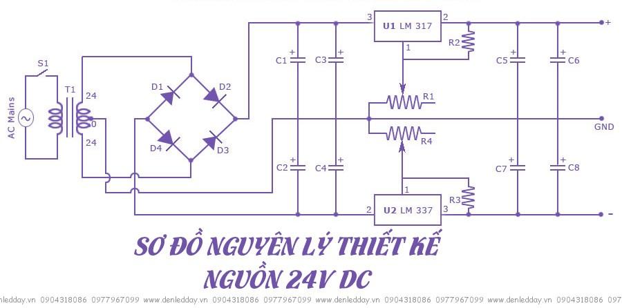 Sơ đồ thiết kế bộ nguồn 24V DC