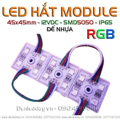 LED module vuông 4 bóng 7 màu đế nhựa