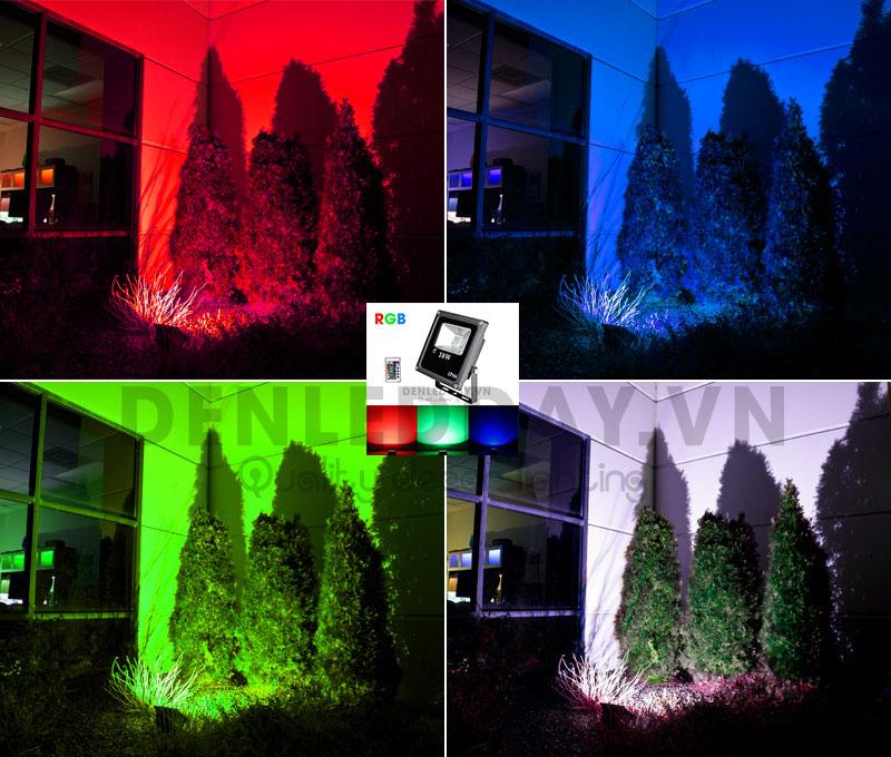 Đèn pha led đổi màu rgb trang trí chống mưa ngoài trời