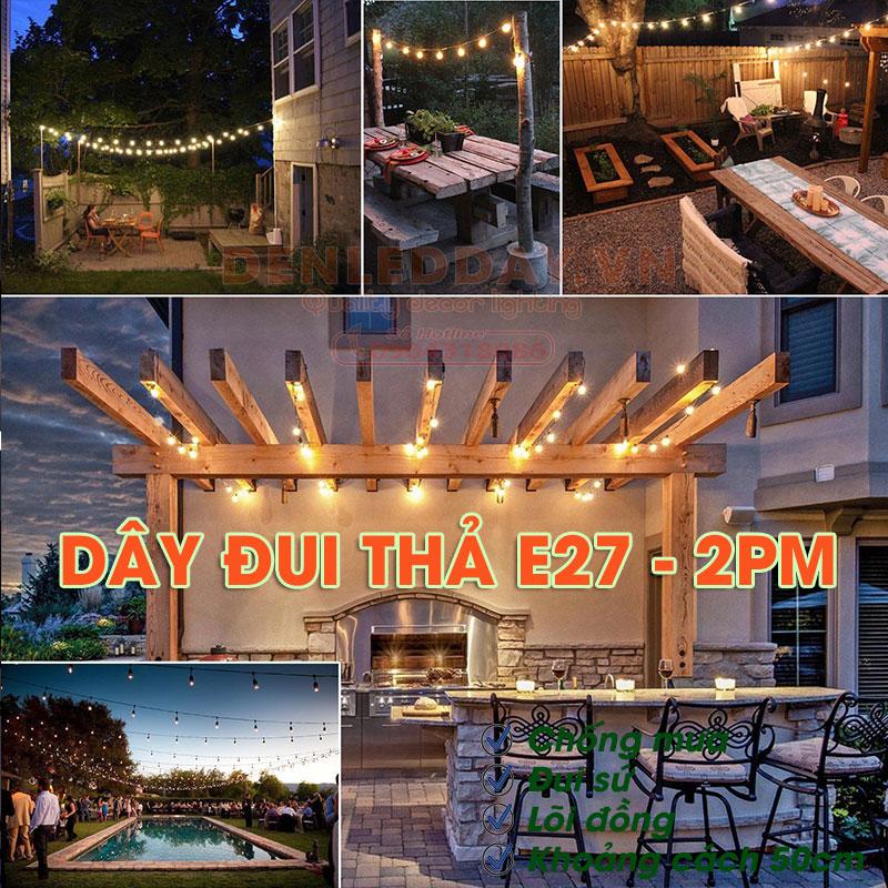 Đèn thả sân vườn E27-2PM là sự lựa chọn hoàn hảo trong decor chiếu sáng và trang trí sân vườn, sự kiện ngoài trời, bể bơi, resort, công viên, đường phố...