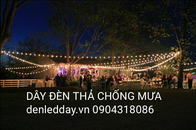 Dây đèn thả trang trí chống mưa bóng tròn cổ điển tại Hà Đông, Hà Nội