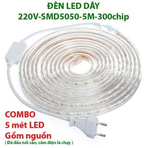 Đèn led dây 220V 5 m tích hợp sẵn đấu nối hoàn chỉnh gồm nguồn