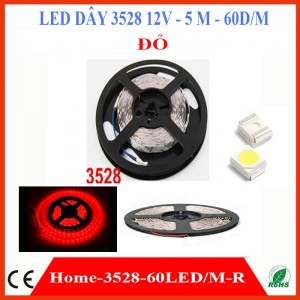 Đèn led dây 3528 12V cuộn 5 mét màu Đỏ 60D