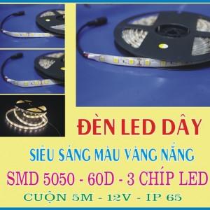 đèn led dây 5050 3 chíp màu vàng nắng ip65
