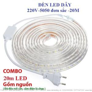 Đèn led dây 220V 20 Mét, Led 5050 1200 chíp, tích hợp sẵn, cắm nguồn là sáng, cuộn 20m