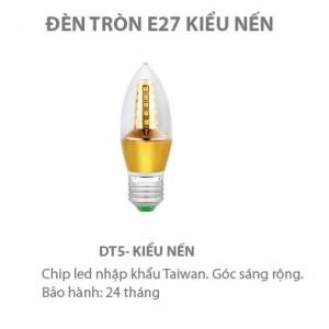 Bóng LED nến 5W đui xoáy E27