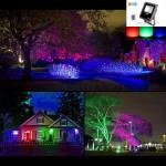 Trang trí ánh sáng màu sắc ngoài trời bằng đèn pha led đổi màu RGB
