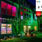 Chiếu sáng trang trí mặt tiền tòa nhà bằng đèn pha led rgb đổi màu
