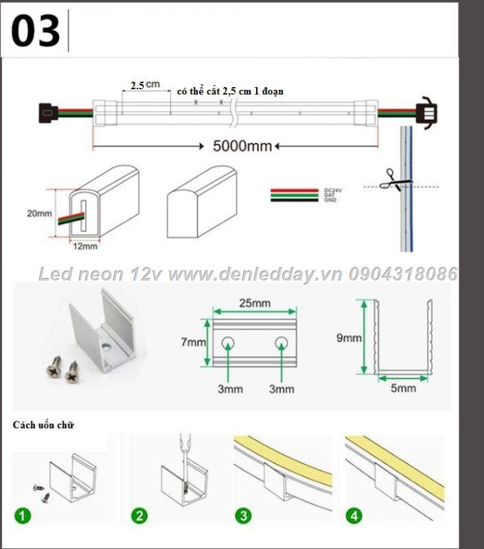 Hướng dẫn lắp đặt đèn led dây neon 12V